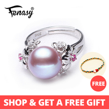 FENASY Pearl Jewelry,plant flower natural rings ,Natural Freshwater 925 Silver ring,ruby for women gift box