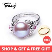 где купить FENASY Pearl Jewelry,plant flower natural Pearl rings ,Natural Freshwater Pearl 925 Silver ring,ruby rings for women gift box по лучшей цене