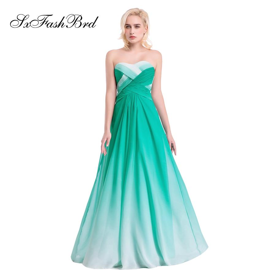 Vestido De Festa Sweetheart En Linje Sommer Flerfarvet Chiffon Lang - Særlige occasion kjoler - Foto 1