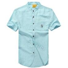 High quality brand men shirts 2017 summer new business casual Linen shirt men chemise homme Men's clothing brand size M/XXXL