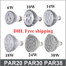 DHL FedEX E27 E26 PAR20 PAR30 PAR38 led bulbs light 10W 14W 18W 24W 36W Dimmable 110V 220V warm/pure/cool white led spotights