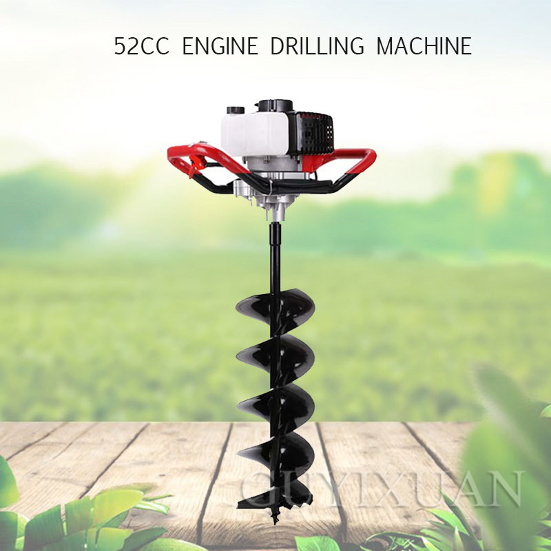 High Power Ground Drilling And Drilling Machine Tree Planting Digger Gasoline Rig Two / Four-stroke Drilling Pile Driver