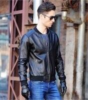 Darmowa wysyłka. ems mężczyzna niebieski motocykl skórzaną kurtkę, homme giacca pelle moto, prawdziwa skóra bydlęca, szczupła dopasowanie kurtki dla mężczyzn