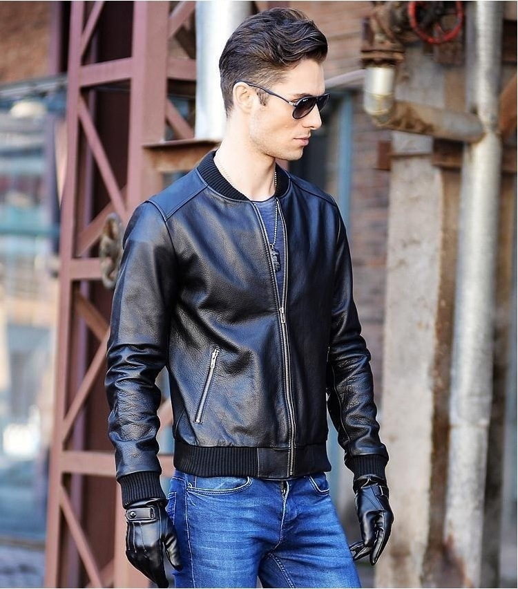 brand new 252c2 98f41 US $111.59 7% OFF Free shipping.Plus size mens black motorcycle leather  jacket,homme giacca moto pelle,genuine cow leather,slim fit coat for man-in  ...