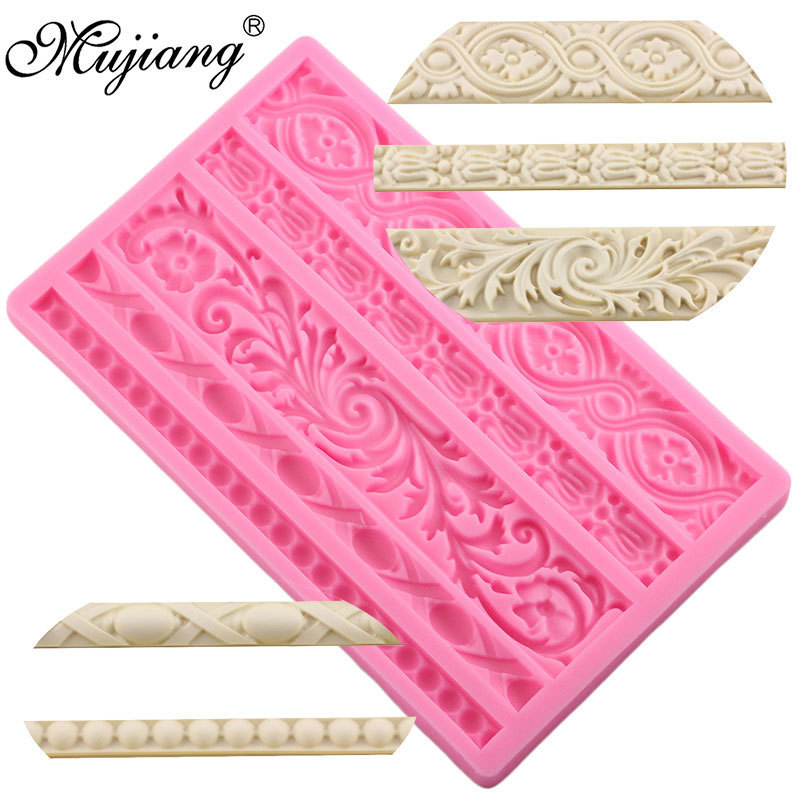 DIY Sugarcraft Cake Border Decorating Frame Silicone Mold Baroque Scroll Relief Fondant Candy Fimo Clay Chocolate Gumpaste Molds