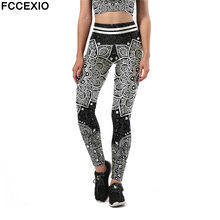 FCCEXIO Mode Aztec Ombre B Mandala Leggings Frauen Hohe Taille Plus Größe Sexy Legging Workout Digital Print Fitness Leggins(China)