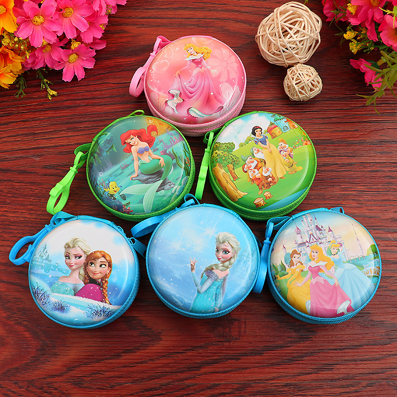 Mini Pouch Key-Holder Coin-Purses Earphone Gifts Mermaid-Girls Zipper Snow-White Elsa