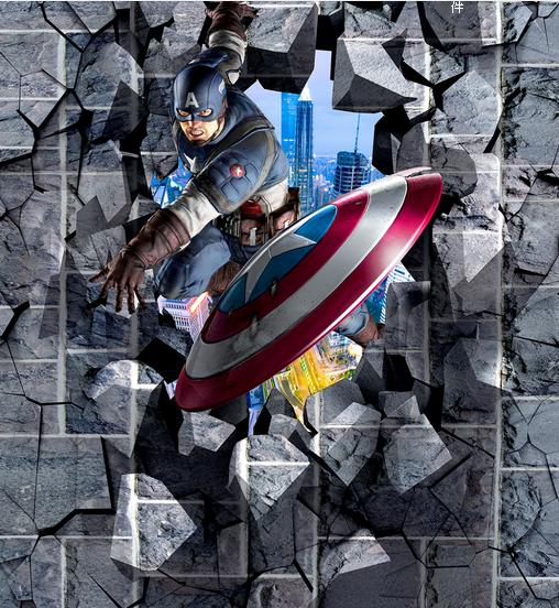 3d wallpaper customize 3d vinyl flooring Captain America Superman waterproof wallpaper 3d flooring wallpaper papel de parede