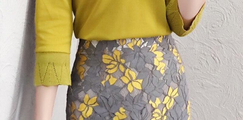 Floreale Molla Del Donne Largo Yellow Giallo Abiti Stampa Spalla 2019 Z628 Equipaggiata Della Elegante Matita Patchwork Sexy Merletto Gonne qFgXzZWwt5