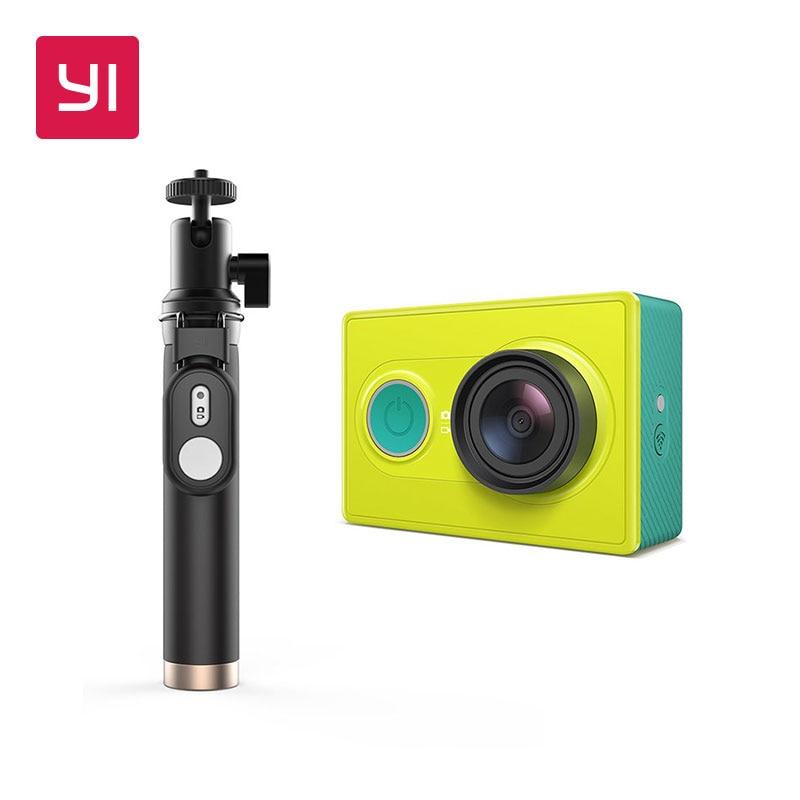 Yi Action Камера 1080 P зеленый лайм Белый Черный 16mp Full HD 155 градусов ультра-широкоугольный Спорт Мини камера палка для селфи Комплект