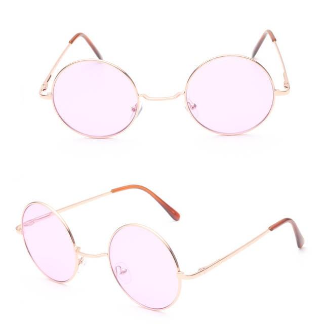 64cd479967ef8 Retro hippie Lennon rodada óculos de sol das mulheres de Metal armação de Metal  círculo lentes