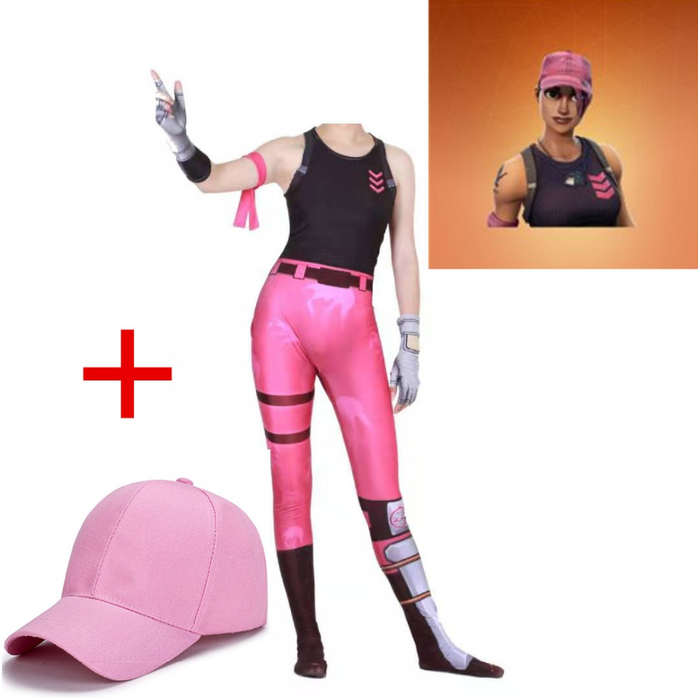 ZSQH rose team leader Jumpsuit fortnited Battle Royale Jumpsuits Cosplay Costume FORTRESS night for  women men Bodysuits