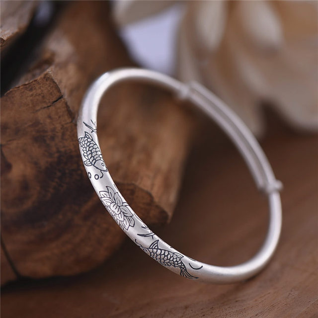 Women Bangles 925 sterling silver / double fish and Lotus flower / Fashion Handmade original design