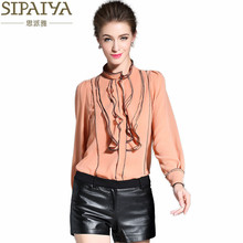 SIPAIYA Real Silk Blouse Womens Stand Collar Long Sleeve Striped Blusas Femininas Office Ladies Elegant Ruffled Blouse