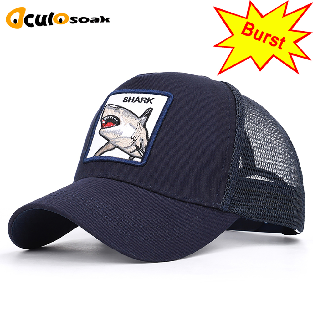 Men's Women's Shark Embroidered   Baseball     Caps   Universal Adjustable High Quality Outdoor Shade Animal Dad Truck Driver Mesh hats
