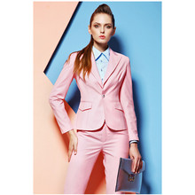 Pink Custom made Professional Formal Pantsuits Uniform Style Office Ladies Work Wear Suits Business suits(Jacket+Pants)