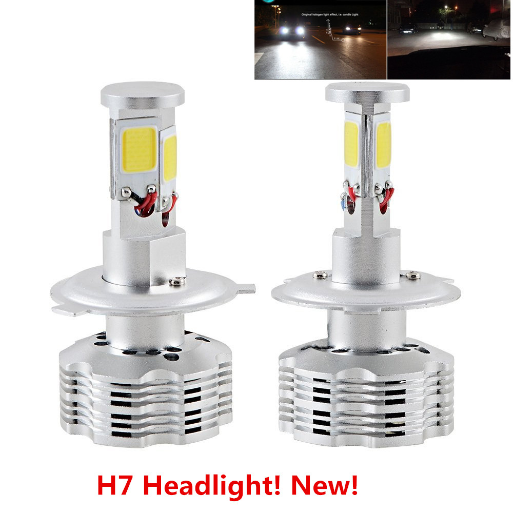 Free Shipping 2Pcs Universal CAR Auto Canbus No Error H7 LED Headlight Kit Bulbs 120W 12000LM 6000K White Light HID Replacement waterproof 2pcs 45w 9000lm d4s d4r led headlight p6 canbus free error led bulb conversation kit 6000k