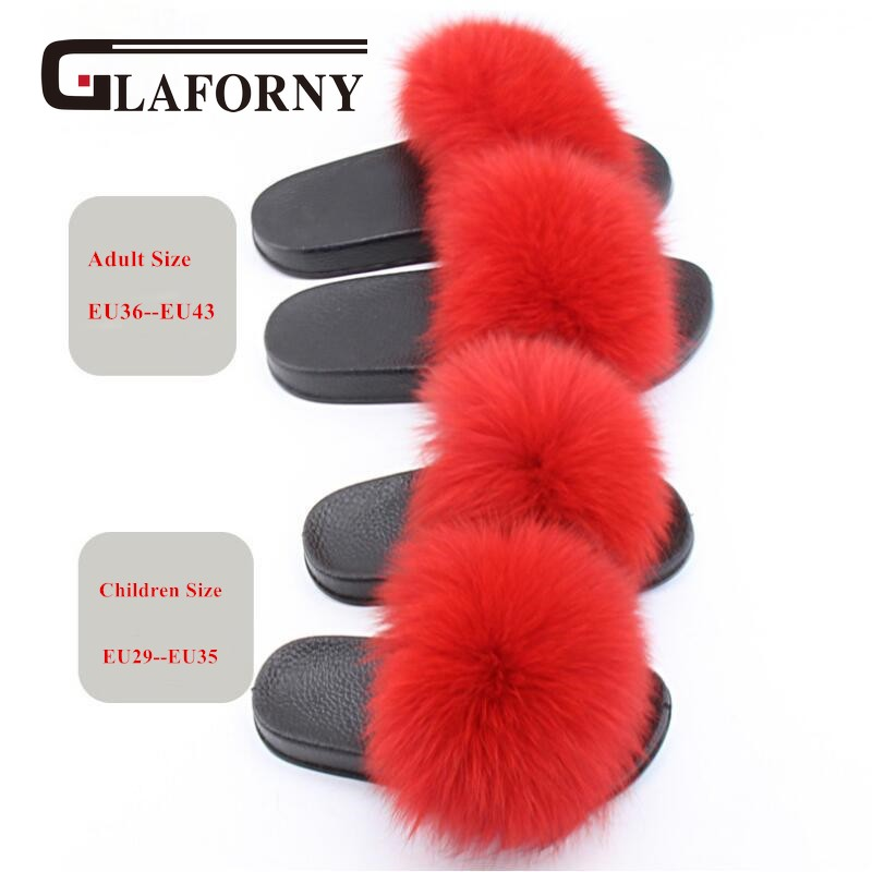 Glaforny 2018 Kids Real Fox Fur Girls Slipper Spring Summer Natural Fur Slides Children Indoor Outdoor Fashion Shoes Luxury Fox Aromatic Character And Agreeable Taste Apparel Accessories