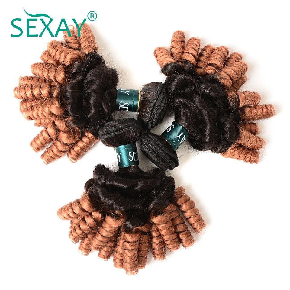 Sexay Pre-Colored Funmi Curl Ombre Human Hair Weaves 3 Bundles T1B/30 Dirty Blonde Romance Curly Brazilian Human Hair Bundles