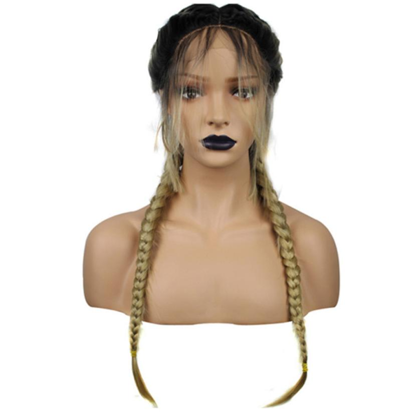 Synthetic Hair Braided Double Lace Front Wig Long Black Wigs 0702