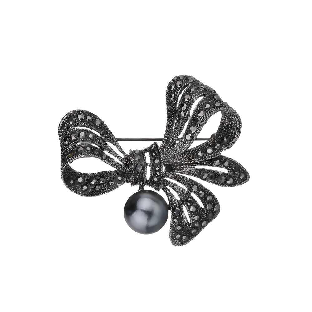 Terreau Kathy Vintage Berlian Imitasi Busur Bros UNTUK WANITA HITAM Ikatan Simpul Bros Pin Fashion Perhiasan Mantel Aksesoris Gaya Elegan