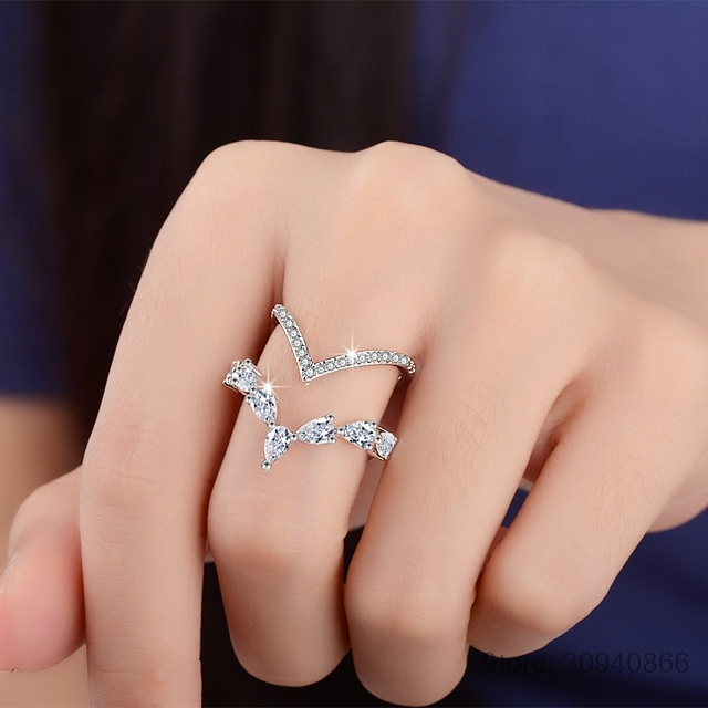 925 Sterling Silver Irregular Double Layer Zirconia ring For Women anillos Resizable Rings Bague S-R172 1