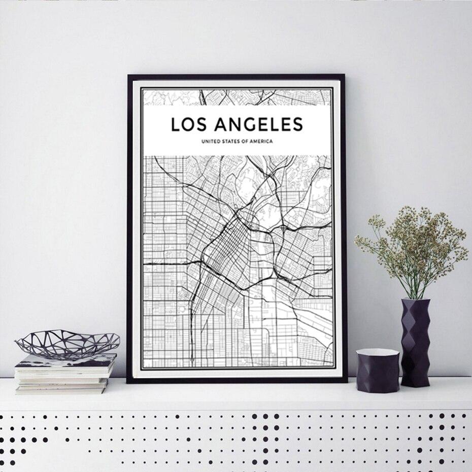 Home Decor Stores Los Angeles: LOS ANGELES City Map Canvas Paintings Minimalis Black