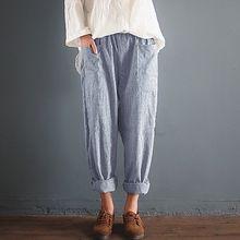e514ae72c4c0b ZANZEA Femmes Automne Vintage Pantalons Longs Bande Verticale Taille  Élastique Harem Pantalon Poches Solide Toile de Coton Loisi.