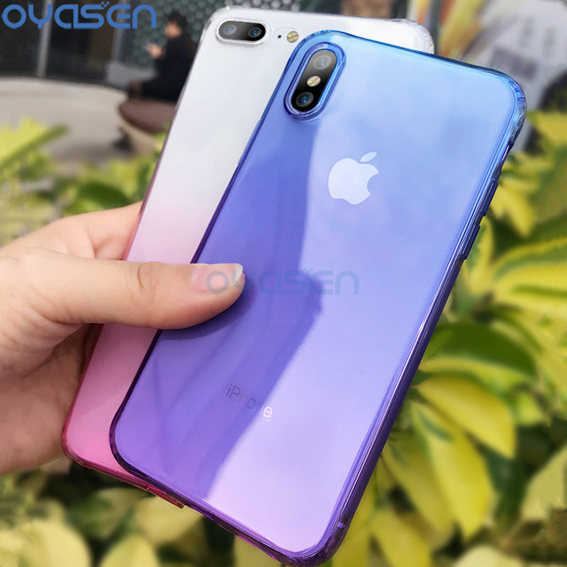 Galleria fotografica Gradient Color Cover Cases For iPhone 6 6s 7 8 Plus X Ultrathin Silicone Soft Full Protective Phone Shell Coque Fundas