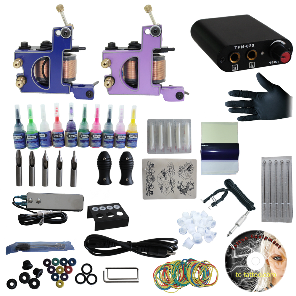 Yilong Complete Tattoo Kit 2 Pro Machine Guns 10 Inks Power Supply Foot Pedal Needles Grips Tips With Case Tattoo CD solong tattoo complete tattoo kit 2 pro machine guns 54 inks power supply foot pedal needles grips tips tk244