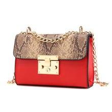 c41559c71a31 Модные женские туфли Змеиный узор длинная цепь сумка через плечо сумка из  искусственной кожи для женщин