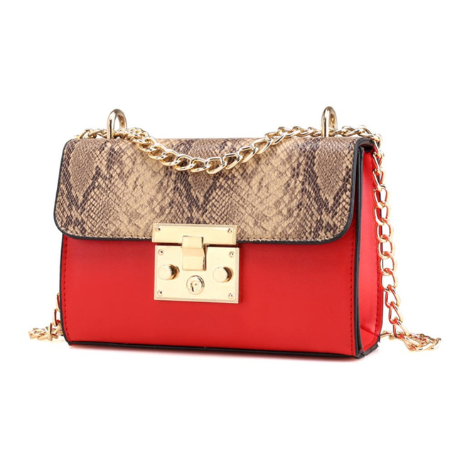 Fashion Women Snakeskin Pattern Long Chain Crossbody Bag Shoulder