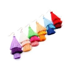 Bulk Price Colorful Bohemia Long Tassel Earings 2017 Handmade Rope Three Layers Drop Earrings For Women Jewelry