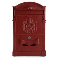 LHBL LOCKABLE SECURE POSTBOX LETTERBOX WALL MOUNTED STAINLESS MAIL POST LETTER BOX Model Red