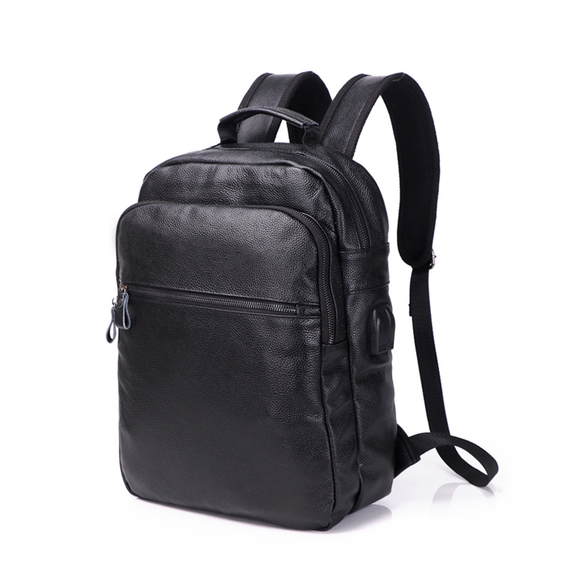 New Brand 100% Genuine Leather Men Backpacks Fashion Real Natural Leather Student Backpack Boy Luxury Design Computer Laptop Bag image