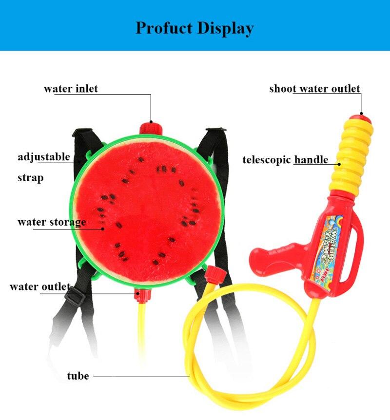 1pcs Creative Fruits Water Gun Toy Outdoor Games Summer Kids Beach Kiwi Lemon Backpack Water Guns Spray Toy Manual Pressure Toy (8)