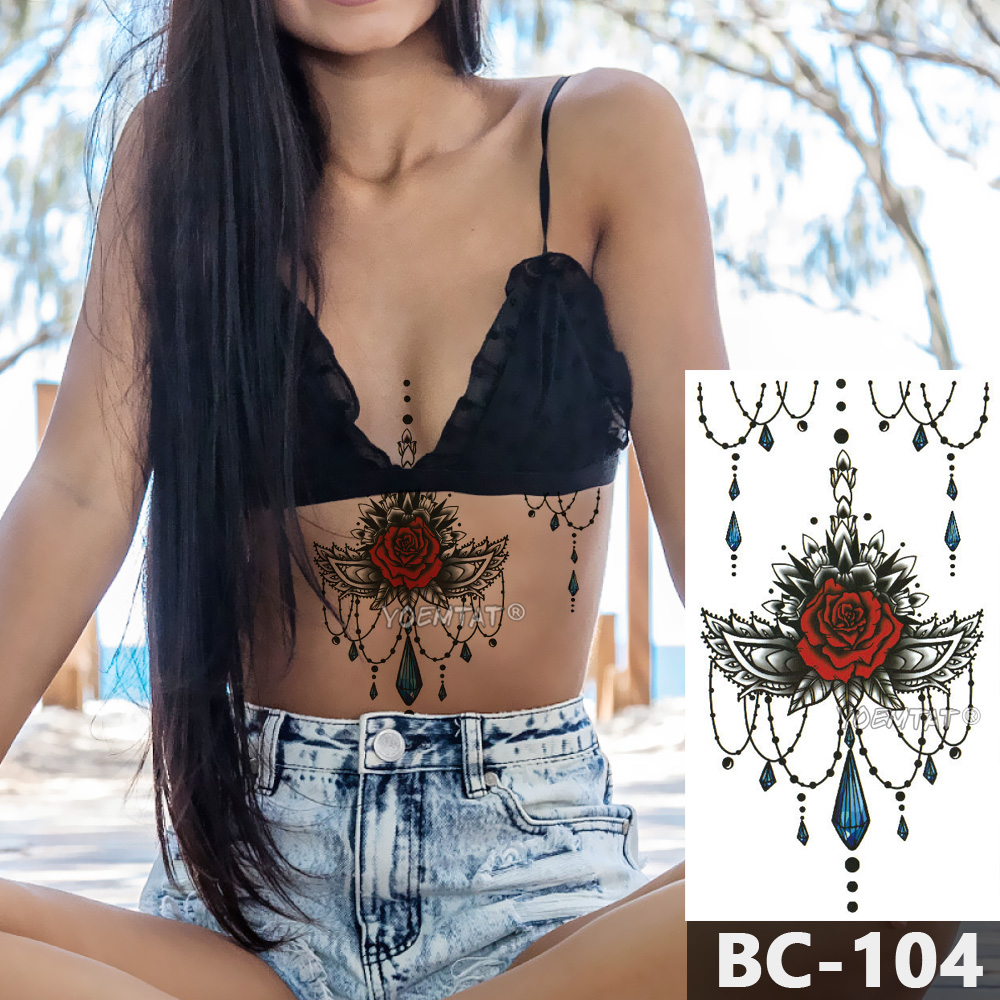 1 Sheet Chest Body Tattoo Temporary Waterproof Jewelry Rose lace crystal pattern Decal Waist Art Sticker for Women