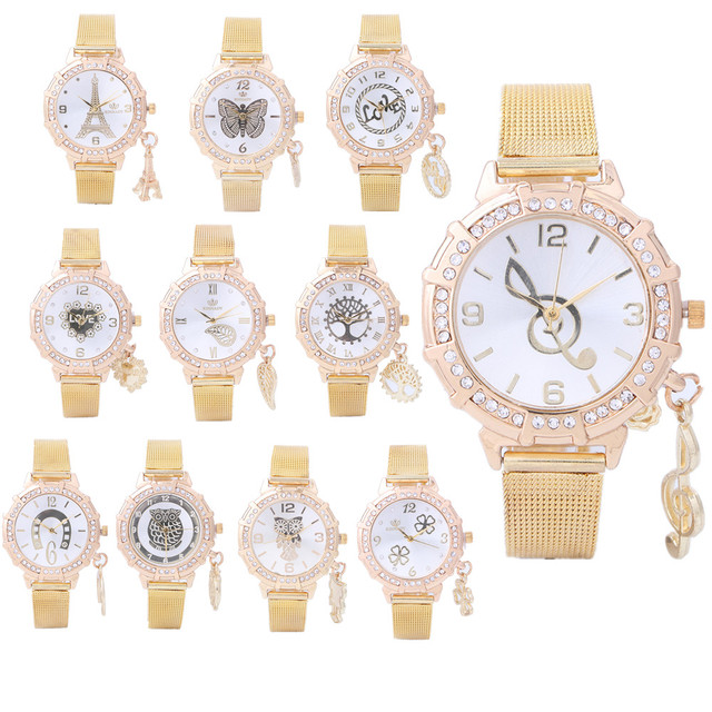 Dropship 12 estilo de marca de lujo reloj mujeres oro colgante reloj  pulsera acero elegante cuarzo fcde233d9d79