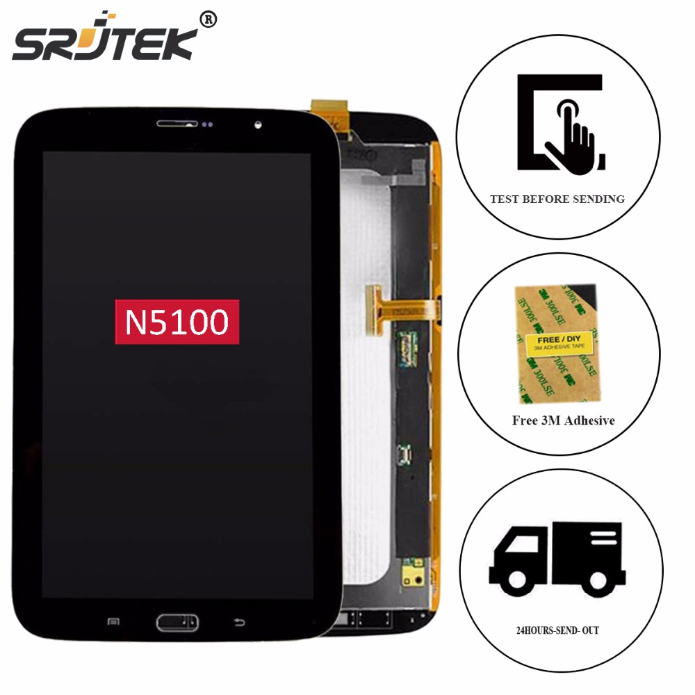 Srjtek 8'' For Samsung Galaxy Note 8.0 N5100 Touch Screen Digitizer Glass+LCD Display Matrix Full Assembly Replacement Parts original 100% test lcd display touch screen digitizer assembly for samsung galaxy note edge n915 white with tempered glass tools