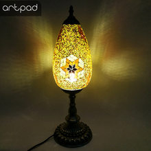 Artpad E14 Bulb Egg Shape Mosaic Table Lamp Hand-inlaid Stained Glass Shade Turkish Lamp For Living Room Desk Bedside Decoration(China)