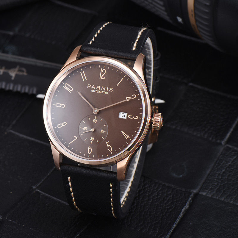 42mm Parnis Brown dial Leather Strap Date window Crystal Stainless Steel Rose Golden Plated Case Automatic movement mens Watch цена и фото