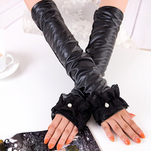Fashion leather gloves female autumn and winter long paragraph elbow plus cashmere warm lace pearl arm sets of cotton skin