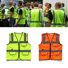 Reflective Strip Safety Vest Zipper Front Safety Coverall Tape Workwear Overalls