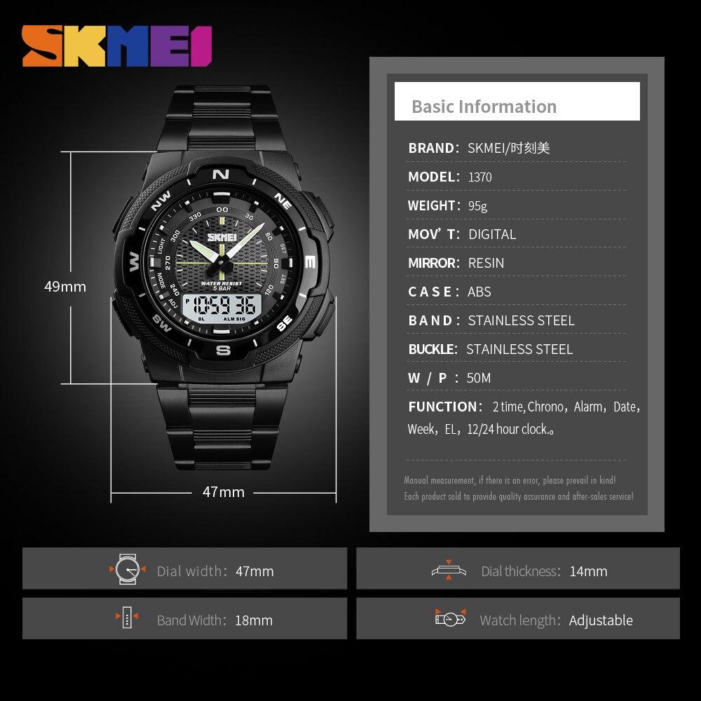 Image 5 - SKMEI часы Для мужчин модные спортивные кварцевые часы Для мужчин s часы лучший бренд класса люкс Полный Сталь Бизнес Водонепроницаемый часы Relogio MasculinoСпортивные часы   -
