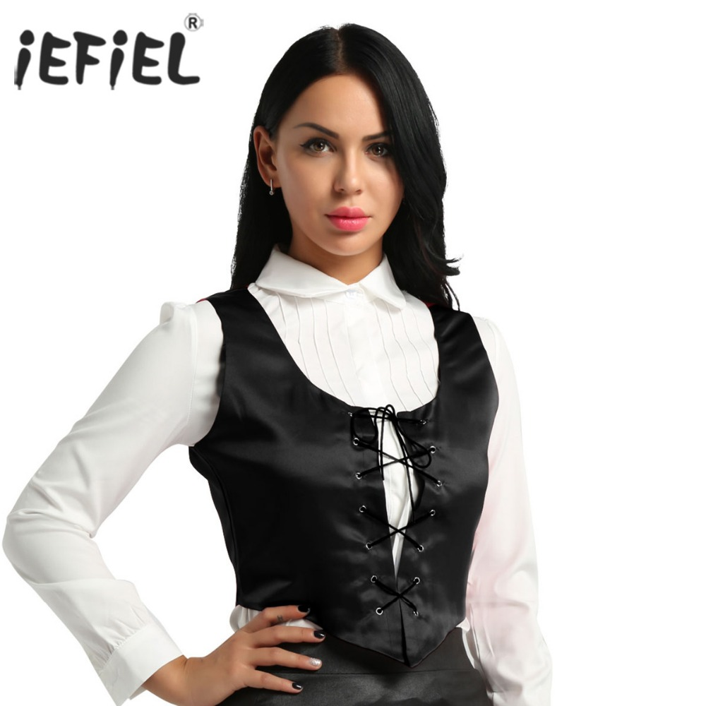 iEFiEL Womens Medieval Party Show Costumes Reversible Halloween Costume Bodice Pirate Fair Wench Corset Vest Top Night Clubwear