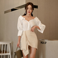 COLOREE 2018 Autumn New Socialite V Neck Long Sleeve White Shirt and Slim Fit Ruffles Pencil Skirt Office Ladies Two Pieces Set