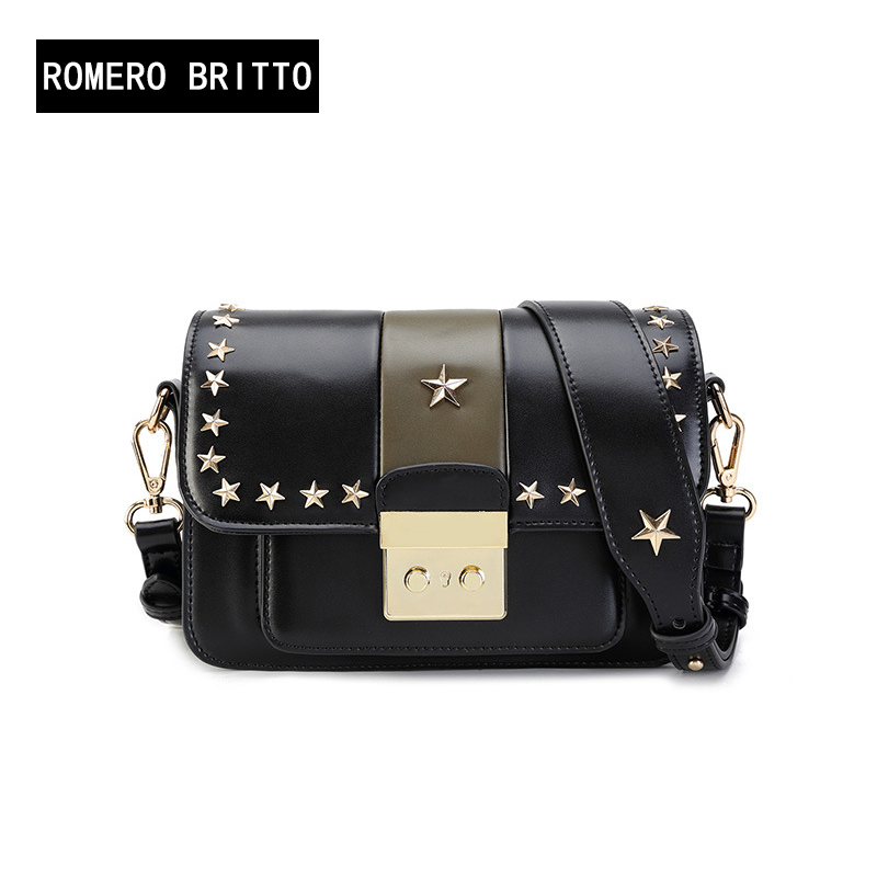 In the spring of 2018 new handbag new Korean retro fashion color star diagonal square rivet package high-quality women bag qiaobao 2018 new korean version of the first layer of women s leather packet messenger bag female shoulder diagonal cross bag