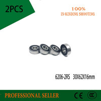 2pcs\/Lot 6206-2RS 6206 RS 30x62x16mm Rubber Sealed Deep Groove Ball Bearing Miniature Bearing
