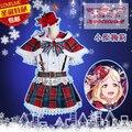 Aqours Amor ao vivo da luz do sol! mari ohara traje cosplay natal ano novo dress shirt + saia + capa + chapéu + gravata + meias + luvas