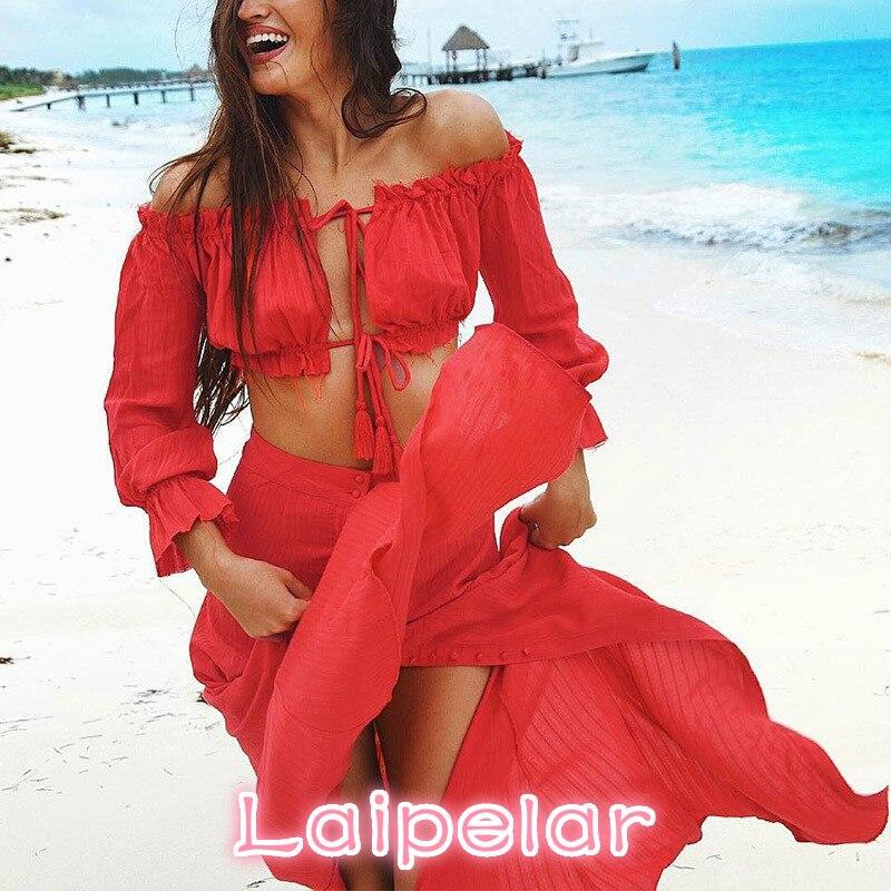 Two Piece Set Beach Women 2018 New Summer Ensemble Femme Vintage Off Shoulder Boho Chiffon Red Crop Top Long Maxi Skirt W1771 in Women 39 s Sets from Women 39 s Clothing